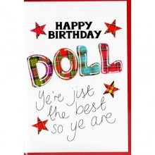 Scottish birthday card - Happy birthday doll