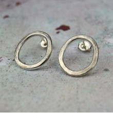 Handcrafted Scottish jewellery - Organic silver circle studs