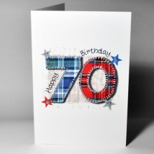 Scottish birthday card 70 - stitched tartan number 70