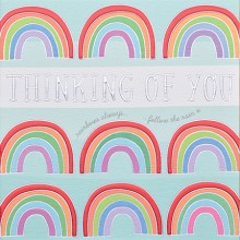 Thinking of you card - Rainbows always follow the rain
