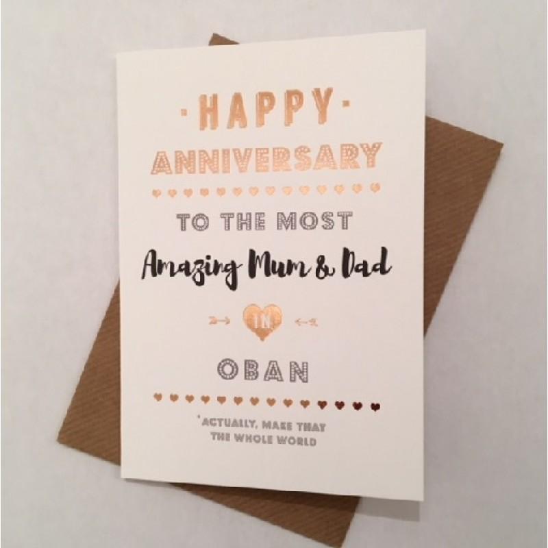 Wedding Anniversary Card Mum Dad Happy Anniversary To The Most Amazing Mum Dad