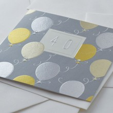 Birthday card 40 - 40 (gold silver copper balloons)