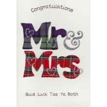 Scottish keepsake wedding card - Mr & Mrs